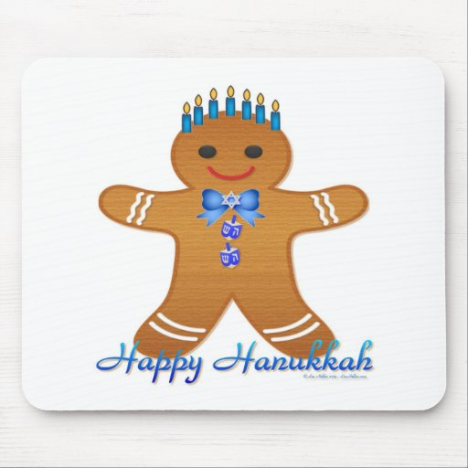 Happy Hanukkah Gingerbread Man Menorah Mousepads