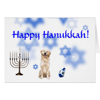 Happy Hanukkah Golden Retriever Card
