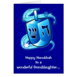 Happy Hanukkah Granddaughter with Spinning Dreidel Card