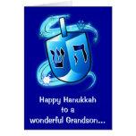 Happy Hanukkah Grandson with Spinning Dreidel Card