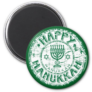 Happy Hanukkah Green Magnet