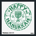 """Happy Hanukkah Green Wall Sticker<br><div class=""""desc"""">Brighten your Hanukkah decor with this round wall decal with an image of a green grunge Happy Hanukkah seal. See the entire Hanukkah Wall Decal collection in the HOLIDAYS section.</div>"""