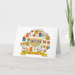 "Happy Hanukkah Greeting Card<br><div class=""desc"">Happy Hanukkah! Colorful Hanukkah greeting card with Menorah,  candlestick,  candles,  donuts,  gifts,  dreidel and coins.</div>"