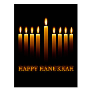 Happy Hanukkah greeting card with candles