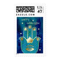 Happy Hanukkah. Hamsa Lucky Symbol Postage Stamps