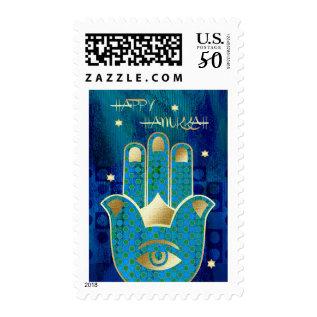 Happy Hanukkah. Hamsa Lucky Symbol Postage Stamps at Zazzle
