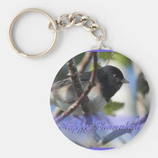 happy hanukkah happy chanukah bird junco key chain