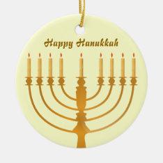 Happy Hanukkah Holiday Ceramic Ornament at Zazzle