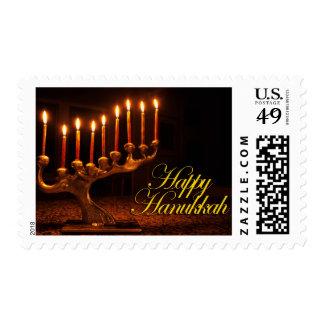 Happy Hanukkah - Illuminated Nine Candle Menorah Postage