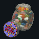 """Happy Hanukkah Jelly Belly™ Glass Jar<br><div class=""""desc"""">From www.railphotoexpress.biz; Hanukkah 2013 is November 27-December 5,  2013.It commemorates the victory of the Israelites over the Syrian  Greek armies,  and the miracle of restoring the menorah in the Holy Temple. Only one vial of oil was found,  enough for one day--and yet it  lasted for eight days.</div>"""