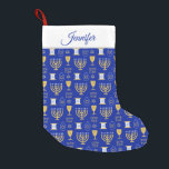 """Happy Hanukkah Jewish Holiday Small Christmas Stocking<br><div class=""""desc"""">An elegant Happy Hanukkah pattern of Jewish symbols of menorah,  star of David, scroll,  in gold on a dark blue background stockings. A stylish gift for Jews friends and family this holiday season. Customize and personalize the name.</div>"""