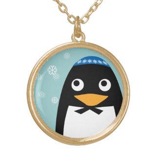 Happy Hanukkah Jewish Penguin Yarmulke Gold Plated Necklace