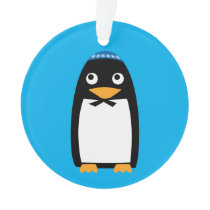 Happy Hanukkah Jewish Penguin Yarmulke Ornament