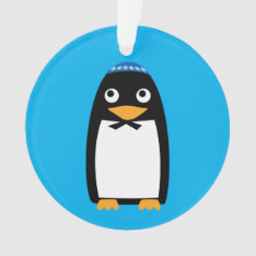 Happy Hanukkah Jewish Penguin Yarmulke Ornament at Zazzle
