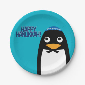 Happy Hanukkah Jewish Penguin Yarmulke Paper Plate