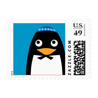 Happy Hanukkah Jewish Penguin Yarmulke Postage at Zazzle