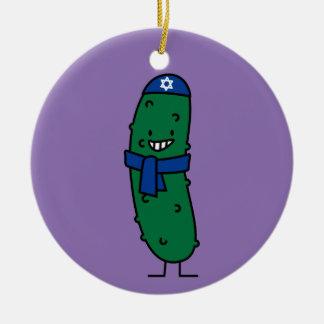 Happy Hanukkah Jewish Pickle Pickles Ceramic Ornament