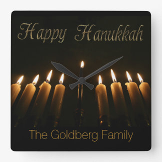 Happy Hanukkah Lamp Menorah Lights Candles Square Wall Clock