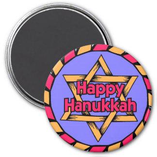 Happy Hanukkah Large Round Magnet