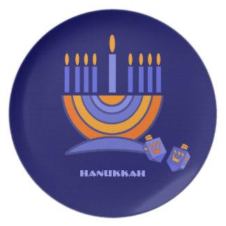 Happy Hanukkah. Menorah and Dreidels Design Plates