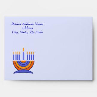 Happy Hanukkah. Menorah and Dreidels Envelope