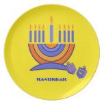 Happy Hanukkah. Menorah and Dreidels Plate
