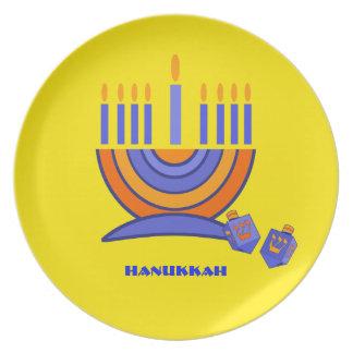 Happy Hanukkah. Menorah and Dreidels Dinner Plates