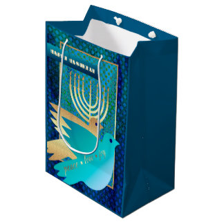 Happy Hanukkah. Menorah and Peace Dove Gift Bags