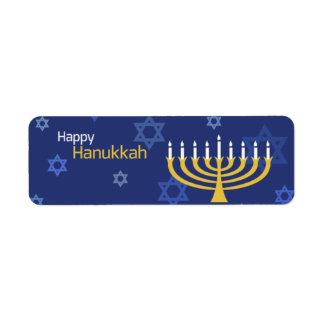 Happy Hanukkah Menorah and Stars Label