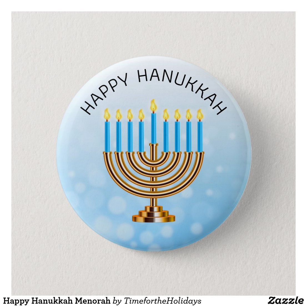 Happy Hanukkah Menorah Button