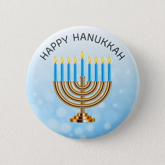 Happy Hanukkah Menorah Button