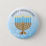 "Happy Hanukkah Menorah Button<br><div class=""desc"">Happy Hanukkah Menorah and Stars Button.</div>"