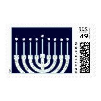 Happy Hanukkah Menorah Candles Postage