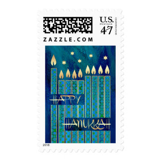 Happy Hanukkah. Menorah Candles Postage Stamps