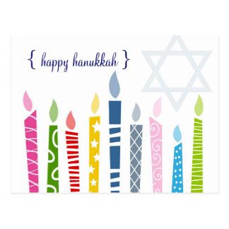 Happy Hanukkah Menorah Candles Postcards