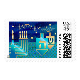Happy Hanukkah. Menorah & Dreidels Design Stamps at Zazzle