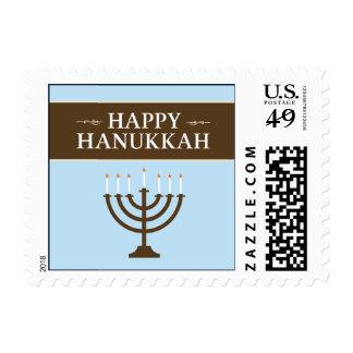 Happy Hanukkah Menorah Holiday Postage (blue)