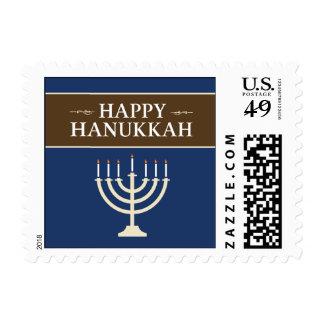 Happy Hanukkah Menorah Holiday Postage (navy)