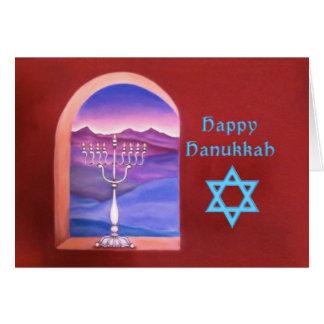 Happy Hanukkah Menorah in a Window Card