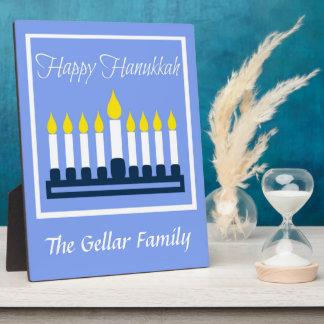 Happy Hanukkah Menorah On Blue Plaque
