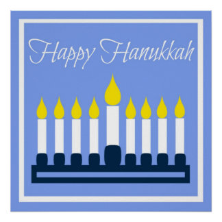 Happy Hanukkah Menorah On Blue Poster