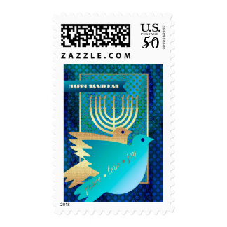 Happy Hanukkah.Menorah & Peace Dove Postage Stamps