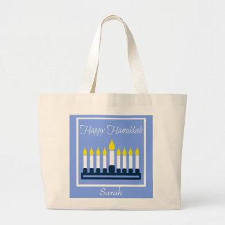 Happy Hanukkah Menorah Personalized Large Tote Bag