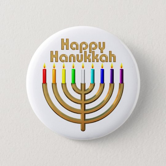 Happy Hanukkah Menorah Pinback Button