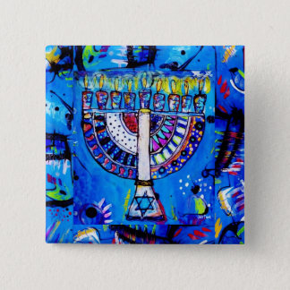 Happy Hanukkah Menorah Pinback Button