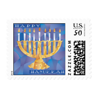 Happy Hanukkah Menorah Postage Stamp