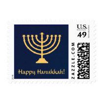Happy Hanukkah Menorah Postage Stamp - Blue & Gold