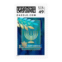 Happy Hanukkah. Menorah Postage Stamps