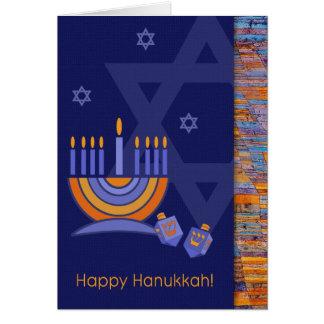 Happy Hanukkah. Menorah with Dreidels Card