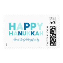 Happy Hanukkah Modern Blue and Teal Postage